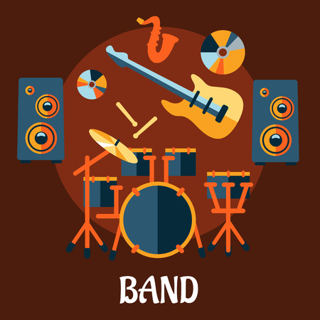 live entertainment: Musical band flat concept with drum set, electric guitar, drum sticks, saxophone, vinyl and speakers on brown background