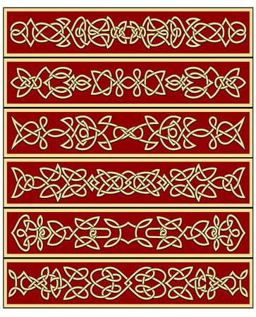 cult: Yellow celtic traditional floral ornaments on red background in frame suited for ethnic decoration or historic concept design