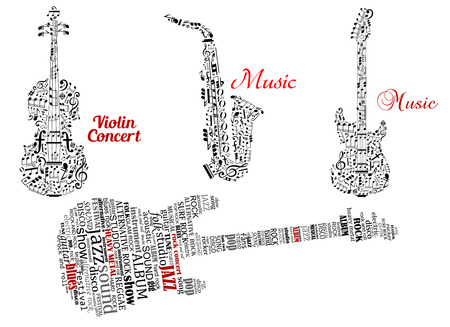 saxofon: Abstracto de la guitarra negro, violín, saxofón hecha de notas, símbolos de la música y las nubes de etiquetas con leyendas rojo música y concierto para violín diseño de la música