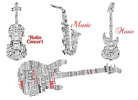 gitara: Streszczenie czarny gitara, skrzypce, saksofon wykonany z nut, symboli muzycznych i chmury tagów z czerwonym podpisy muzyki i koncertu skrzypcowego projektu muzycznego Ilustracja