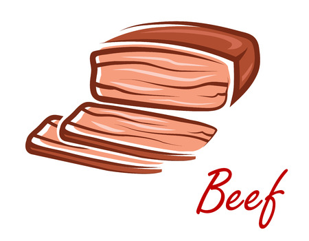 Roast beef with slices and text Beef in cartoon retro style suitable for steak house menu or recipe book design Vector