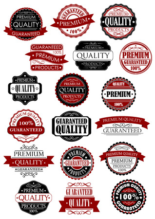 quality: Premium quality guarantee retro labels and banners in black and red colors for product promo design