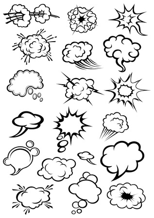 Cartoon speech bubbles and explosion clouds in comics style with motion trails and lightnings for comic book expression and dialog design