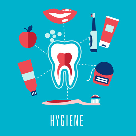 건강한 치아 둘러싸인 칫솔의 단면, 함박 웃음, 사과, 치약, 치실 및 캡션 위생 치과 위생 의료 개념. 플랫 스타일