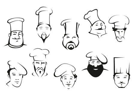 Chef or cook characters in cartoon sketch style in toques with mustaches and beards. Different nationalities and emotional expressions for logo or emblem design