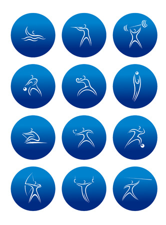 Sporting round icons with silhouettes of athletesdepicting different kind of sports Vector