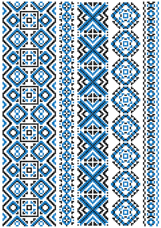 stitches: Ethnic embroidery patterns and borders with blue geometric ornament for needlework template or fabric design Illustration