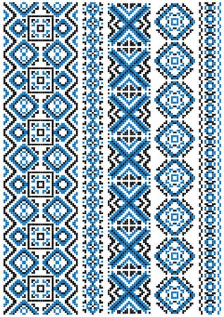 punto cruz: Patrones de bordado �tnicas y las fronteras con el ornamento geom�trico azul de plantilla de la costura o el dise�o de la tela