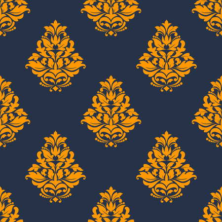 twirls: Damask floral seamless pattern with orange flowers consist of elegant curly leaves, twirls and lily buds on dark blue background Illustration