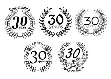 jubilee: Vintage 30 years anniversary heraldic laurel wreaths in outline for greeting, jubilee or invitation design