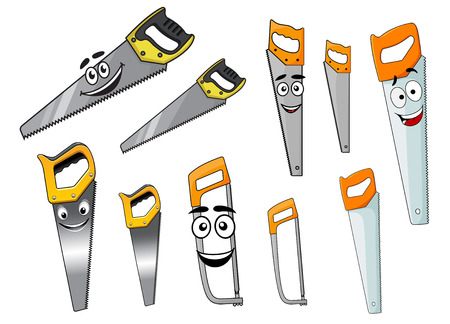 instrumentation: Cartoon sharp hand saw and hacksaw tools characters with smiling faces isolated on white Illustration