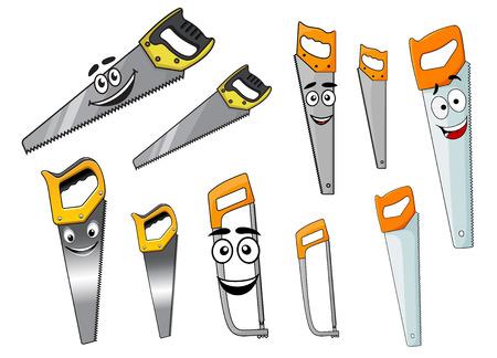 serrucho: Mano fuerte Cartoon herramientas sierras y serruchos personajes con caras sonrientes aislados en blanco