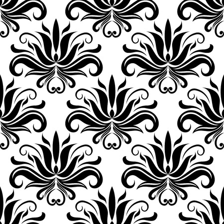 foliate: Black abstract flowers and stems in seamless foliate pattern with white background for fabric and interior design