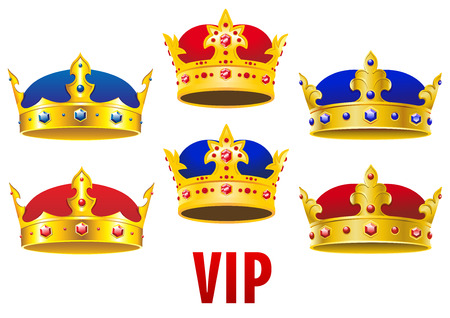 Gold royal crowns inlaid colorful jewels with red and blue velvet in cartoon style for heraldry or VIP concept design