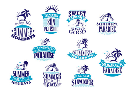 Summer holidays emblems and logo in blue with beach, sunrise, palm tree and wave for travel or leisure design