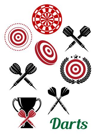 Darts ontwerp elementen voor sportieve emblemen of logo inclusief gekruist darten, doel boord, trofee beker en tekst Darts in zwart en rood kleuren