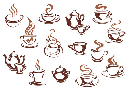 Coffee cups and pots in sketch style and brown colors with swirls of steam and coffee beans for cafe menu or coffee shop advertising design Vector