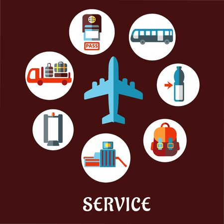 airport security: Airport and airline service flat concept with airplane surrounded white circles depicting passport control, metal detector, security gate, baggage service, passenger bus, drink, hand baggage