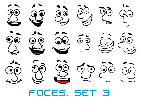 gleeful: Cartoon funny faces in doodle sketch style with happiness, joyful, sad, unhappy, surprise emotions for avatar or comics design