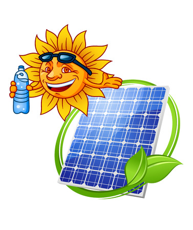 energy logo: Solar panel eco symbol in cartoon style with blue photovoltaic panel encircled green stem with leaves and cheerful sun with bottle of water