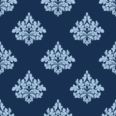 twirls: Seamless blue colored foliage pattern of vintage damask elements with elegant carved leaves and bold twirls suitable for wallpaper and fabric design Illustration