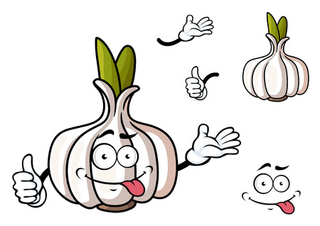 grimace: Cartoon garlic vegetable character with green sprouts and funny grimace face suited for food pack or healthy nutrition concept design Illustration