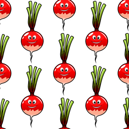 Seamless cartoon vegetable background of fresh red radish with green haulms for food pack or page fill design
