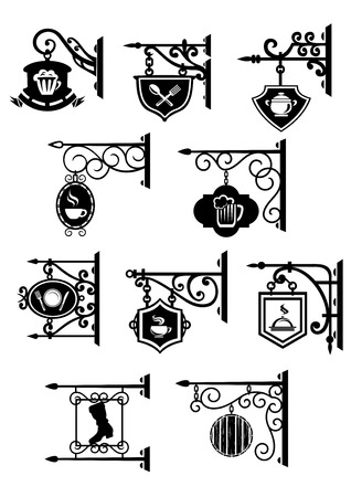 restaurants: Black vintage street signboards hanging on forged brackets with symbols of bar, pub, cafe, restaurant and workshop