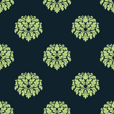 Seamless green pattern of damask motif with abstract lush flowers composed of bold curly leaves for wallpaper or textile design Vector