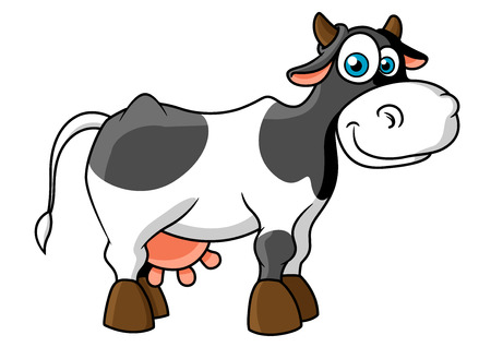 Cute cartoon spotted cow character with cheerful smile, little horns and big blue eyes for agriculture or farming design Иллюстрация