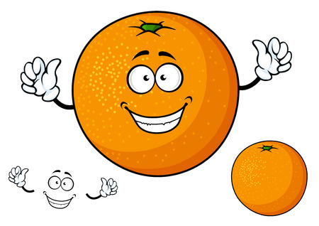 Funny cartoon orange fruit character and emotion elements separately for healthy nutrition and food design