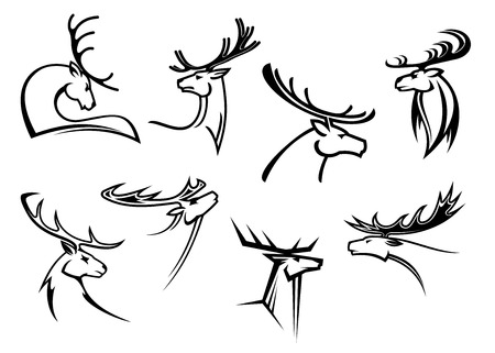 Outline sketch deer heads with proud profile and large antlers isolated on white for tattoo or mascot design 向量圖像