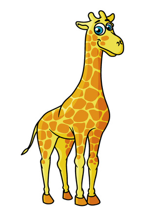piebald: Cartoon smiling giraffe character with brown spots isolated on white background for comics design