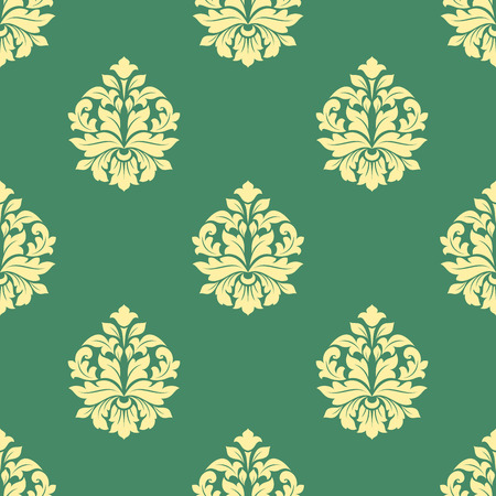 dainty: Seamless sparse yellow flowers pattern with bold leaves and dainty buds on green background