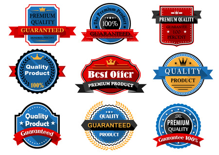 quality guarantee: Quality product and guarantee flat labels with long shadows and texts of guarantee premium quality, decorated ribbon banners, laurel wreaths, stars and crowns for retail or sale design