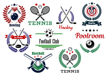individual sport: Football, soccer, ice hockey, darts, poolroom, bowling, baseball  team and individual sport emblems in heraldic style
