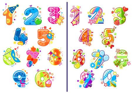 Kleurrijke cartoon glanzende cijfers en cijfers versierd speelgoed, bloemen, ballonnen, fruit en partij decoratie elementen voor verjaardag jubileum of onderwijs ontwerp Stock Illustratie