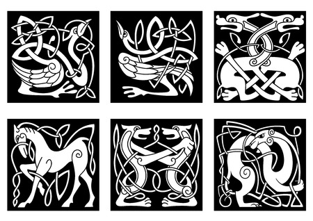 Abstract white animal ornaments in celtic style with tribal pattern on black background for tattoo or culture design