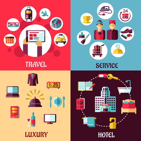 Travel and services flat concept with icons depicting internet booking, luxury, hotel, room service, reception and service staff symbols Illustration