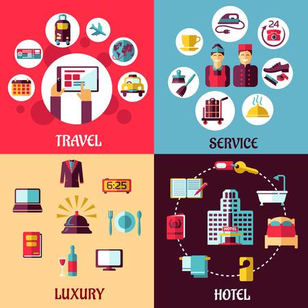 Viajes y servicios concepto plana con iconos que representan reservas por Internet, lujo, hotel, servicio de habitaciones, servicio de recepción y símbolos personal