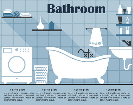 bath tub: Blue bathroom interior in flat style showing the wall with tile, bath, sink, washing machine, laundry basket and shelves with towels and tubes