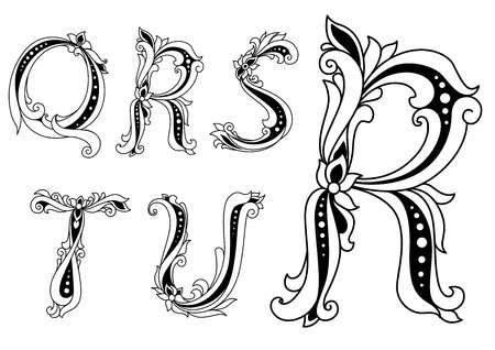 u s a: Floral capital letters Q, R, S, T and U with flowers and twirl elements for heraldry, culture or book design