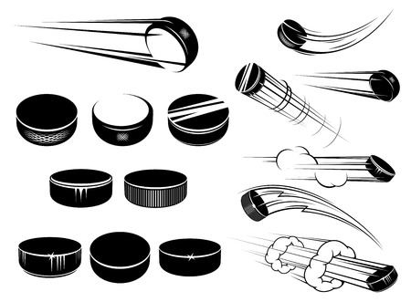 Ice ockey pucks in cartoon stijl met motion paden en wolken op wit wordt geïsoleerd voor sport ontwerp Stock Illustratie