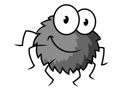 spider web icon: Cartoon funny gray little spider character with thin legs, hairy body and big eyes isolated on white