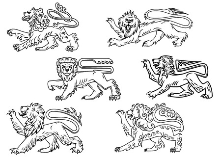 Vintage outline profiles of noble lions with raised foreleg for mascot or heraldry design Иллюстрация