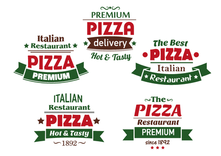 Different italian pizza labels in green and red with banners containing various text for Italian restaurant, pizzeria or cafe design Vector