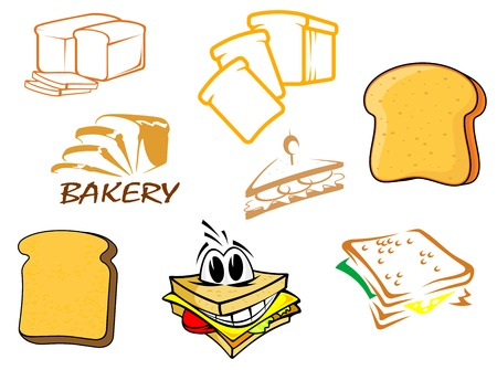 crusty: Colored vector toasts and bread icons showing a loaf, toast, slices, bakery, sandwich and cartoon sandwich with a happy face