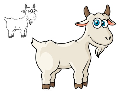 smiling goat: Cartoon horned farm goat isolated on white background for agriculture or fairytales design Illustration