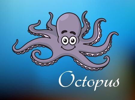 childrens book: Smiling cute violet cartoon baby octopus character swimming in blue sea with white caption Octopus for childrens book, party and lessons design