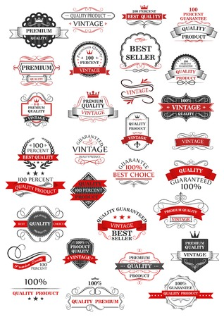 business banner: Retro set of bestseller, guarantee, choice and quality labels for shops and commerce in red and grey with assorted text, vector design elements